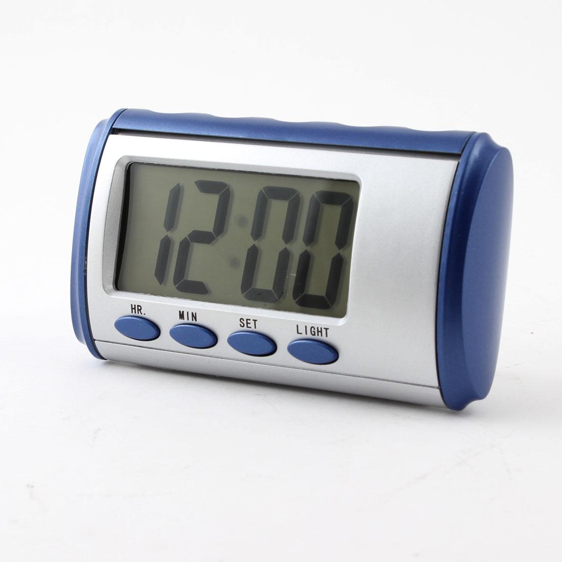Car Home Pocket 4 Button Hour Minute LCD Digital Clock Silver Tone Blue