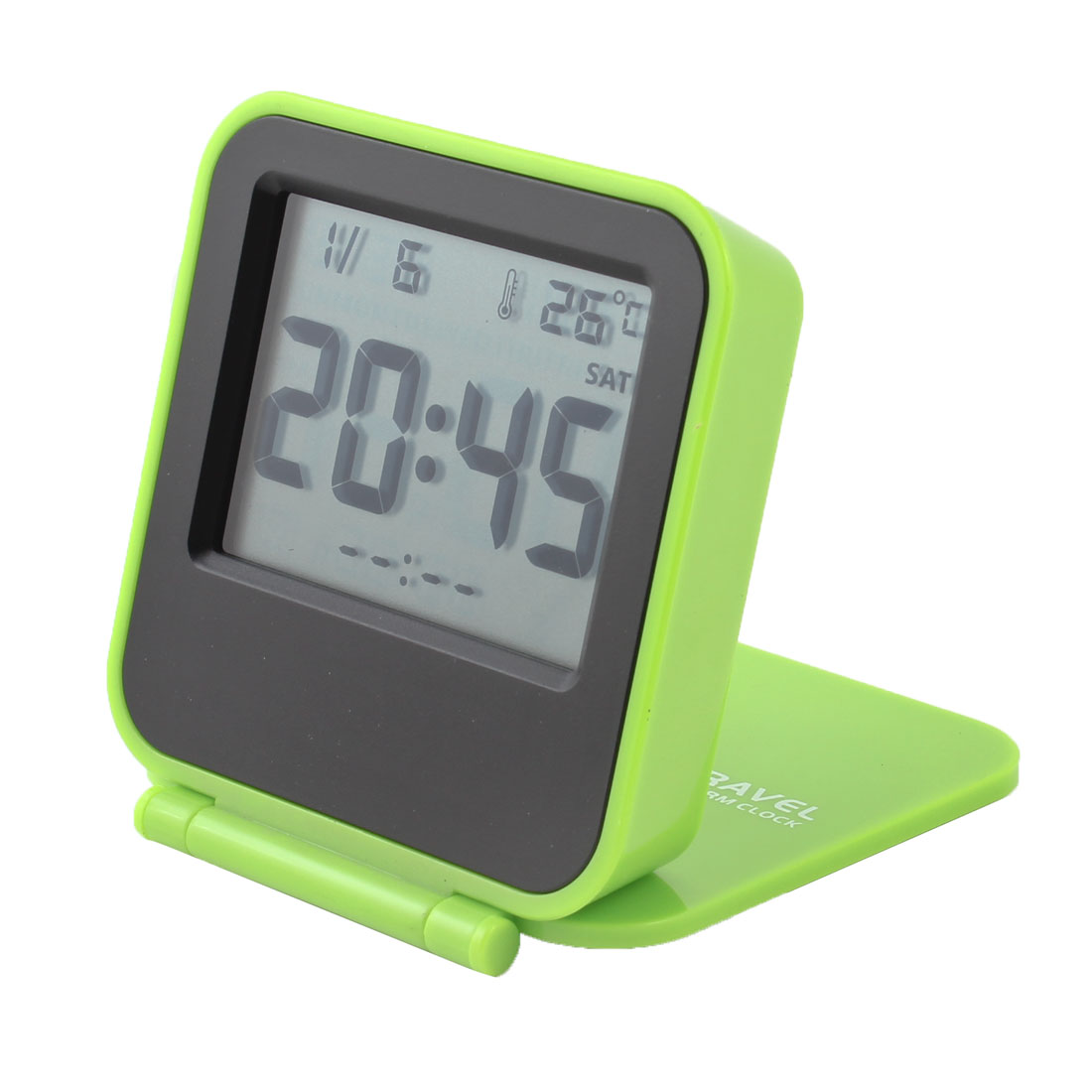 Foldable Alarm Time Temperature LCD Display Digital Clock Green Black