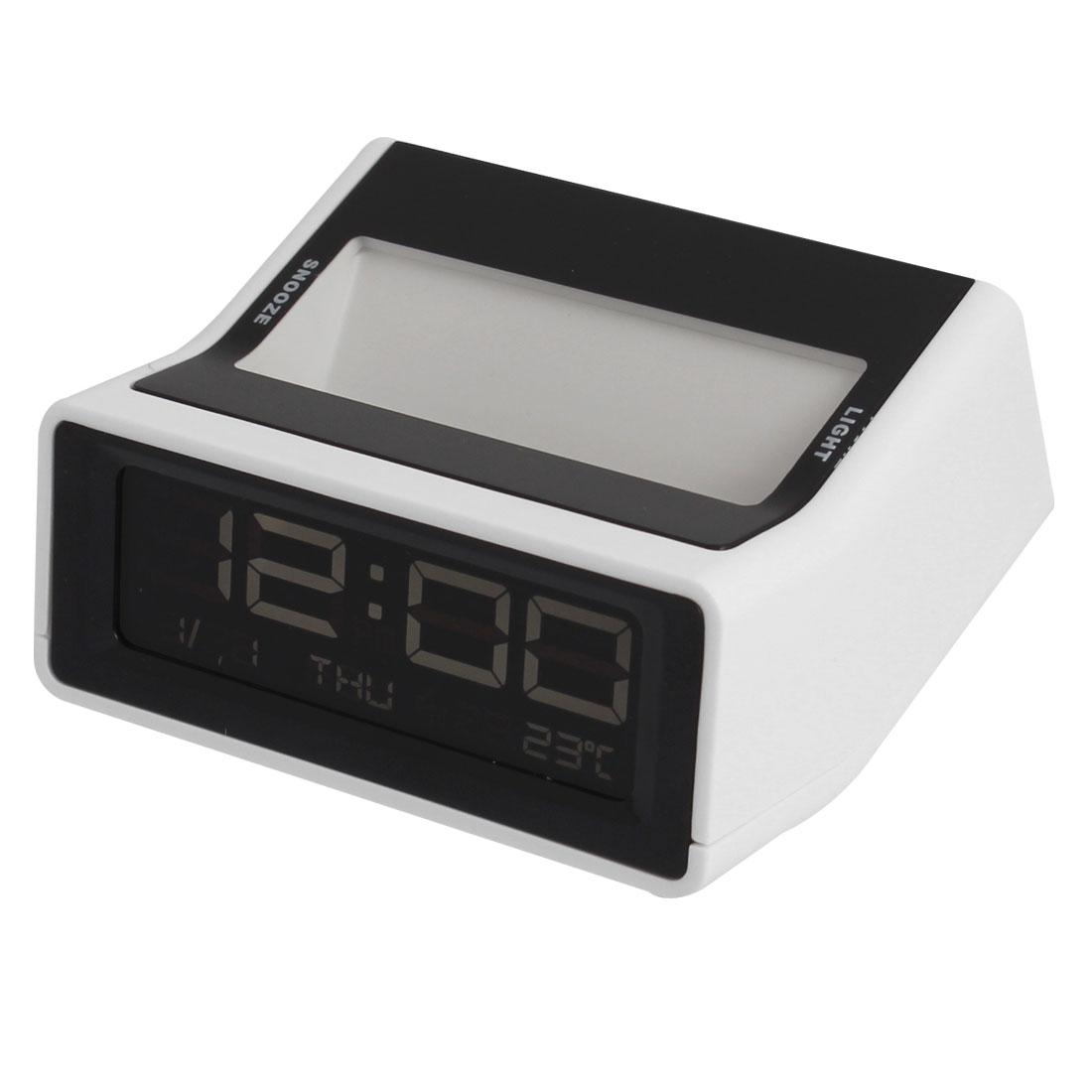 Black White Multifuntion Time Snooze Alarm Temperature LED Digital Clock