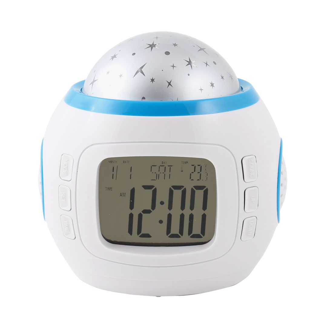 Star Projection Music Calendar Thermometer Alarm LED Clock Blue White