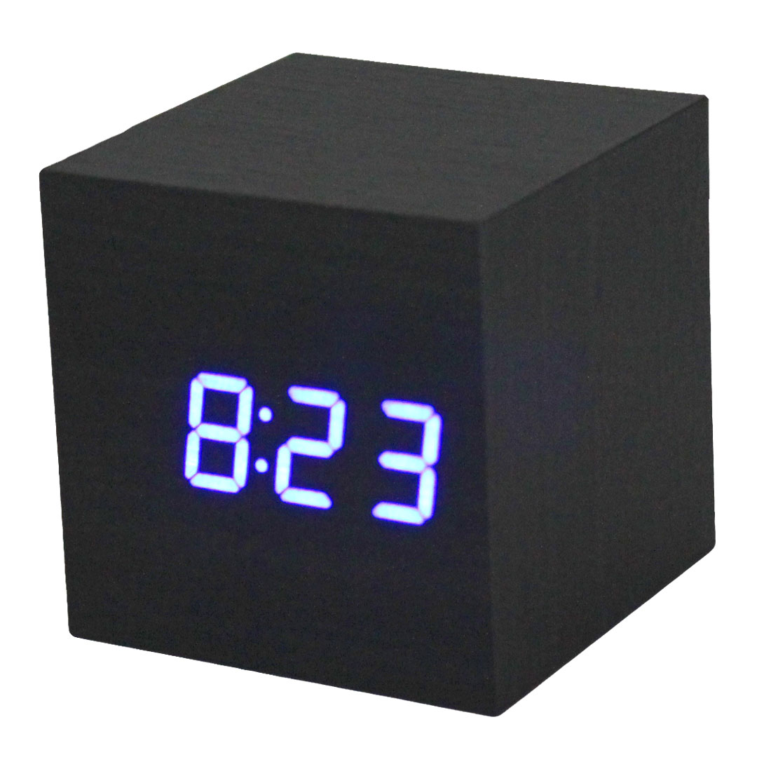 Multifuntion Time Temperature Blue LED Wood Wooden USB/AAA Cube Alarm Clock