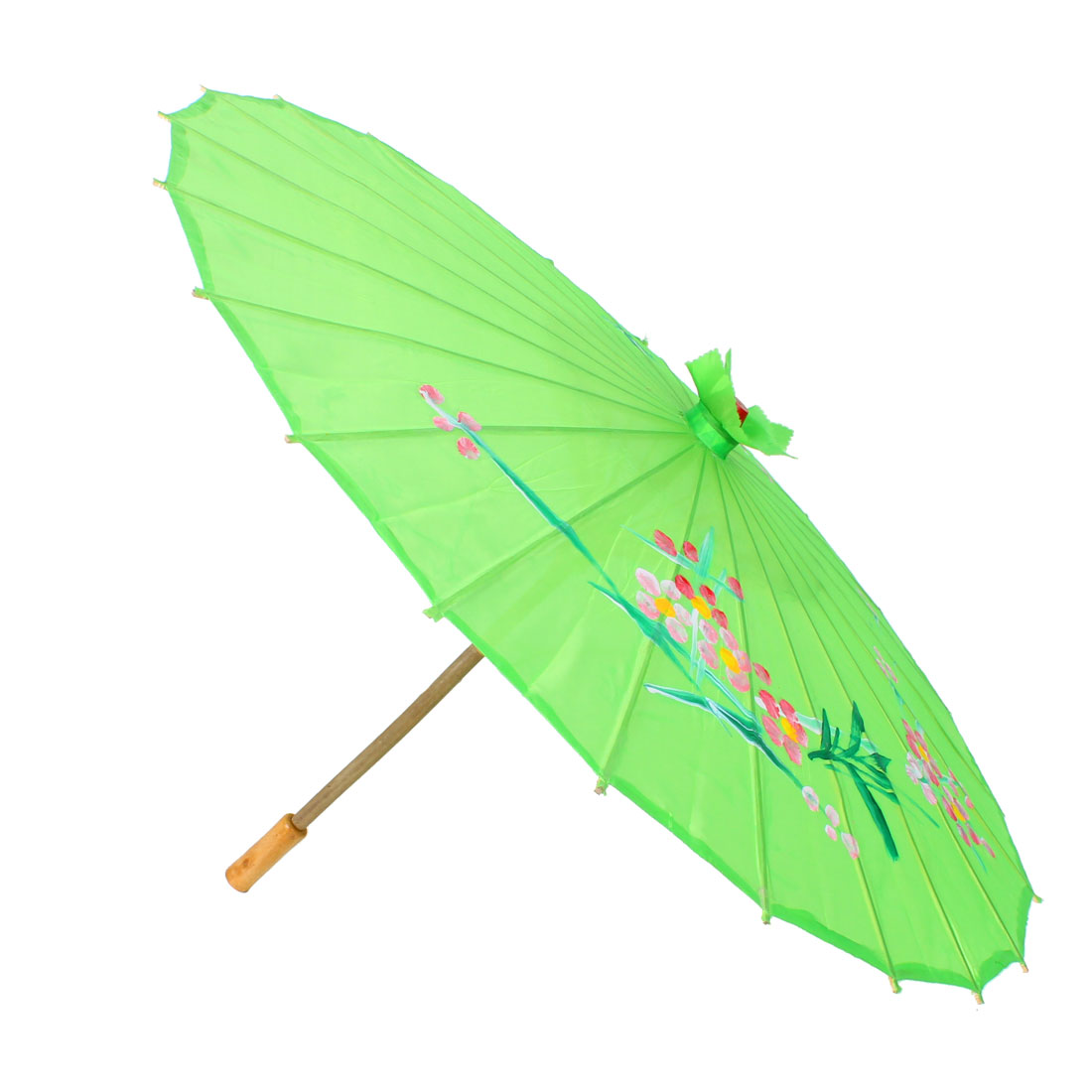 Wedding Party Decor Bamboo Handle Green Flower Leaf Pattern Dancing Parasol