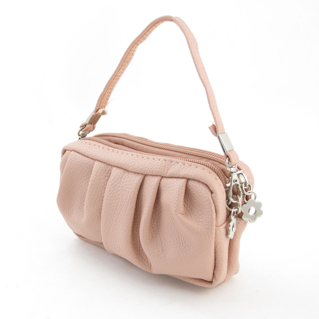 Pale Pink Zip Up Litchi Pattern Faux Leather Handbag Purse for Lady