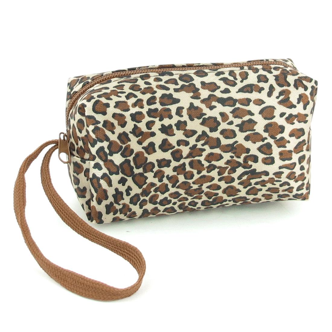 Brown Black Zipper Closure Leopard Pattern Coin Purses Bag for Lady