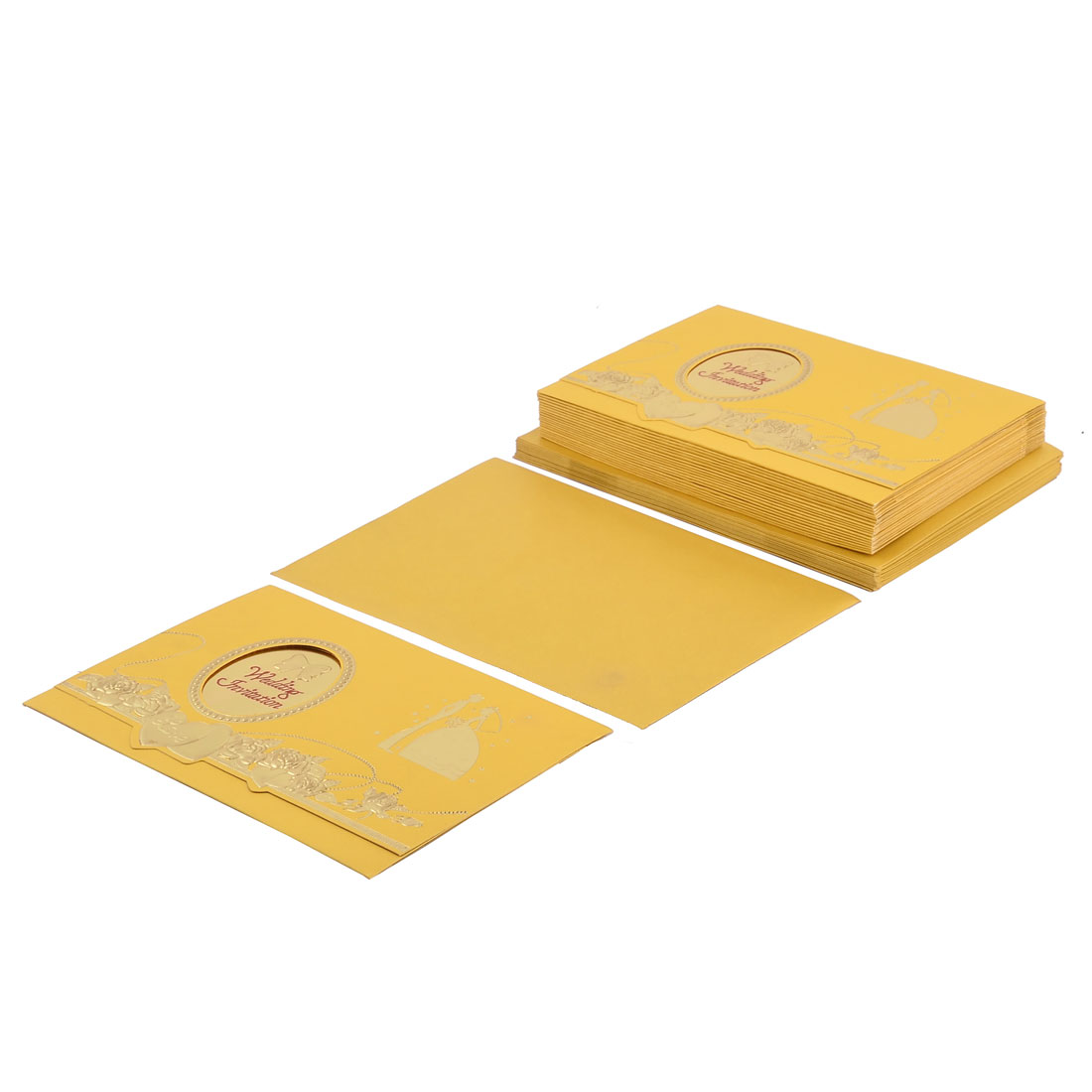 20 Set Bride Groom Pattern Yellow Wedding Invitations Cards + Envelopes