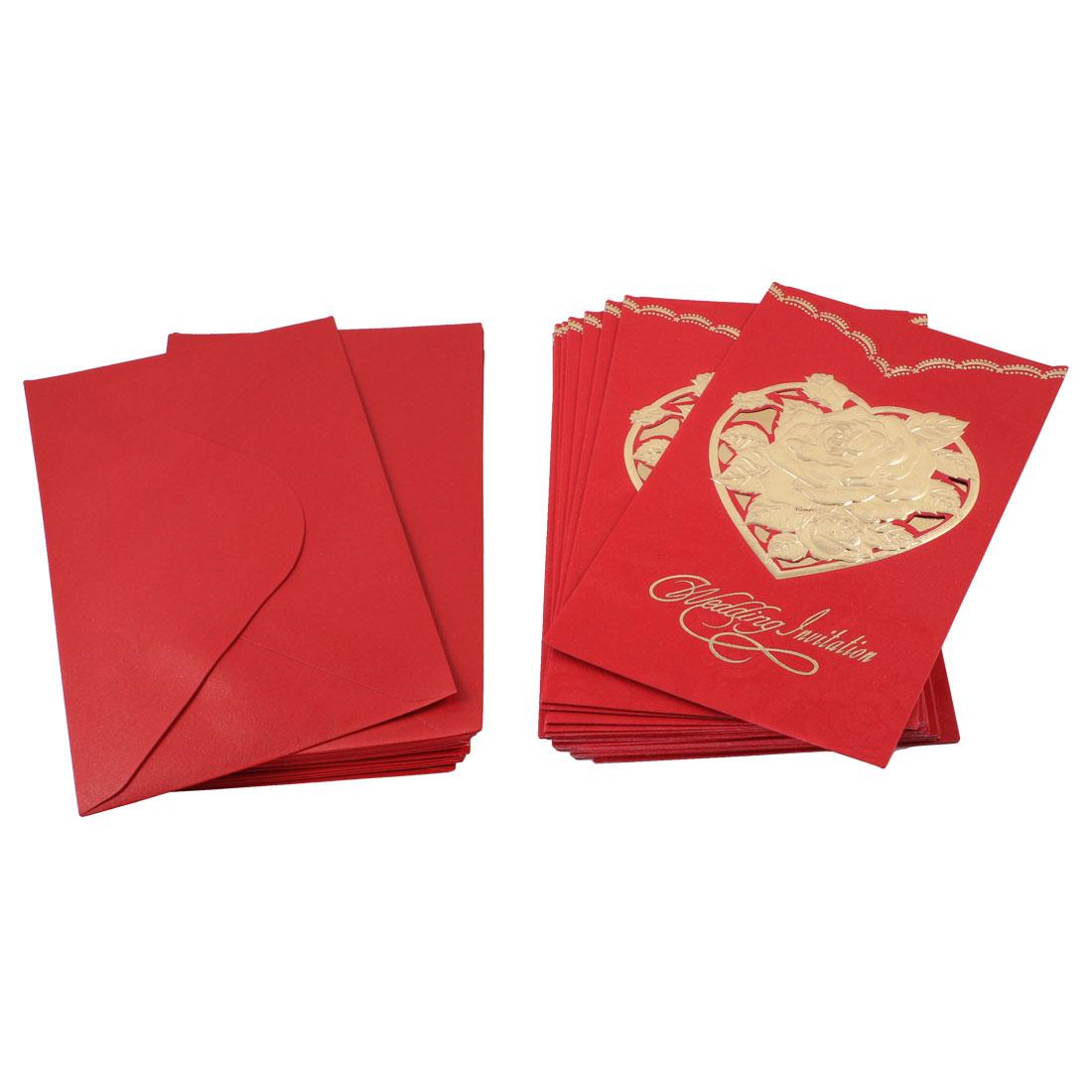 20 Set Flower Pattern Red Wedding Invitations Cards + Envelopes
