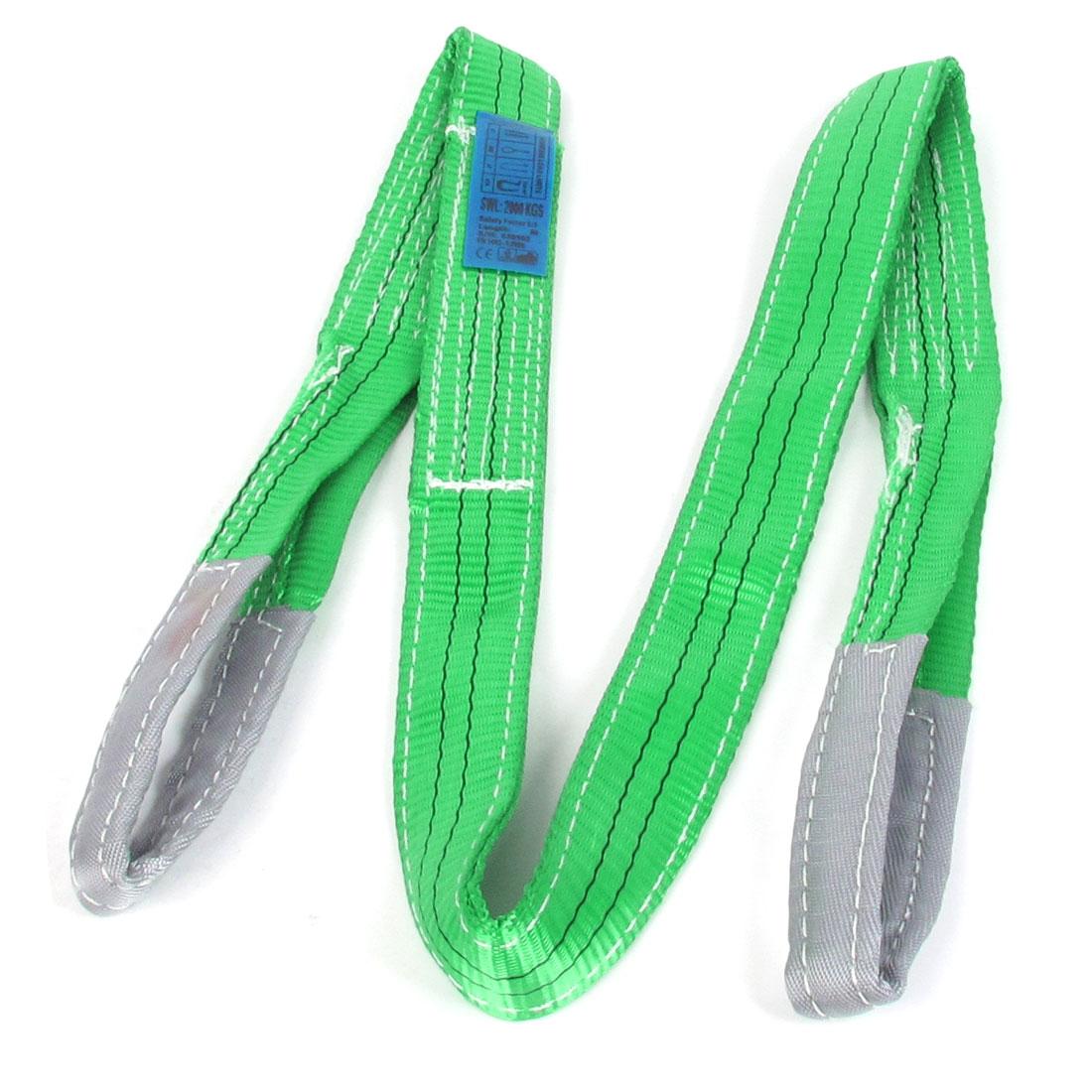 2 Ton SWL Green Gray Tow Strap Hoist Webbing Lifting Strap 2M Long