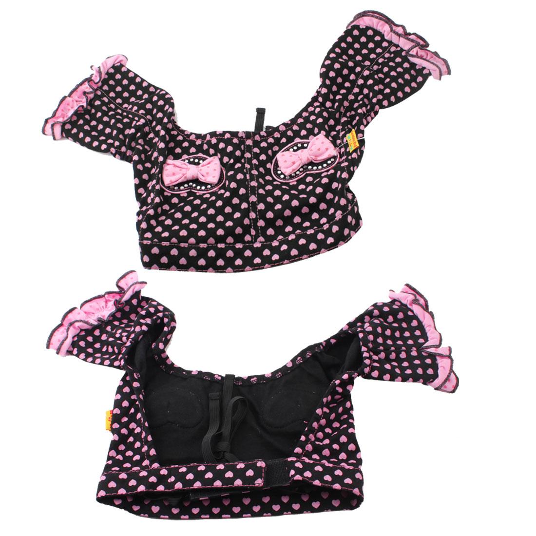 Pink Black Heart Pattern Hook Loop Fastener Pet Dog Doggie Trousers Pants Size S