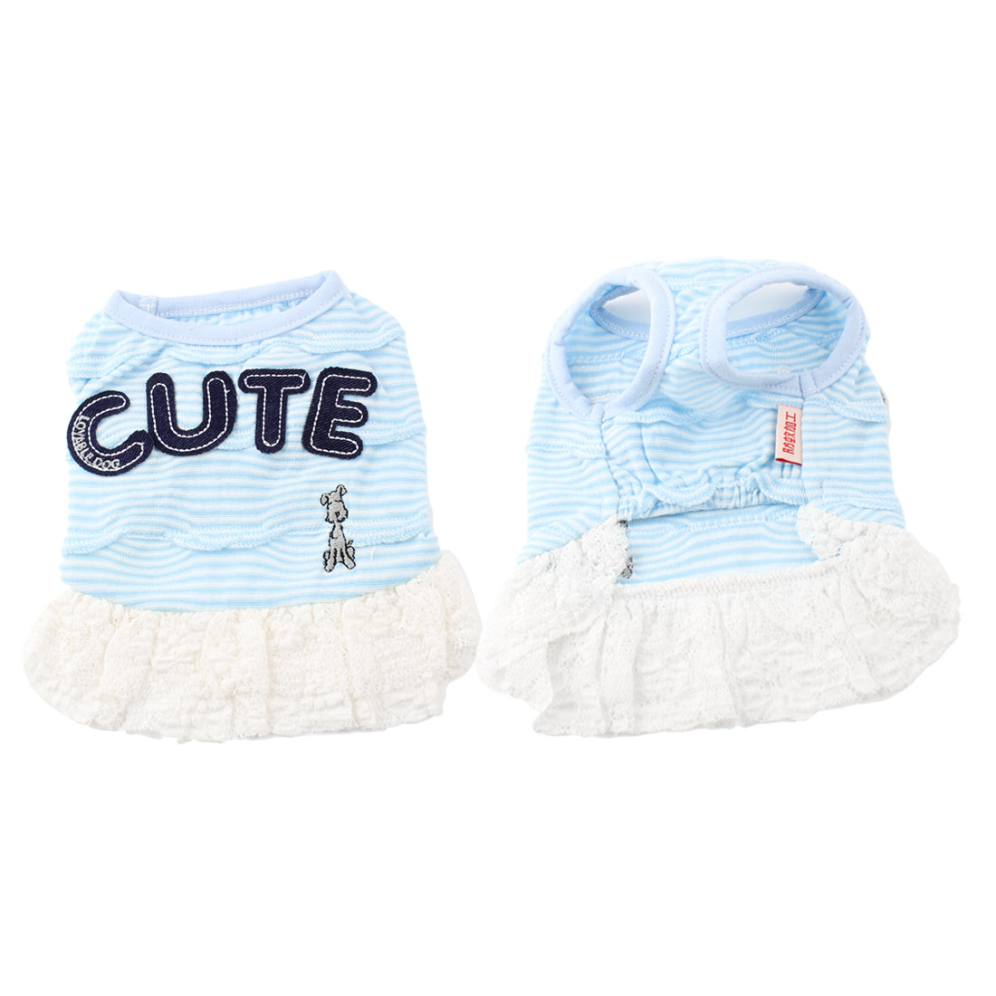 Light Blue Stripe Pattern Sleeves Lace Brim Pet Dog Puppy Dress Skirt Size XXS