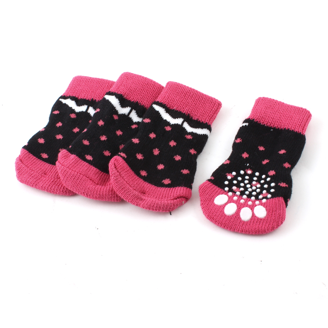 2 Pairs Black Fuchsia Knitted Elastic Paw Pattern Pet Dog Cat Puppy Socks L