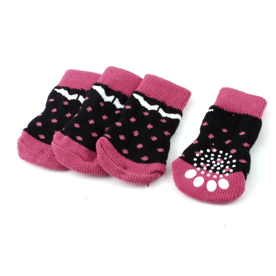 2 Pairs Paw Printed Stretchy Cuff Pet Dog Cat Yorkie Socks Fuchsia Black S