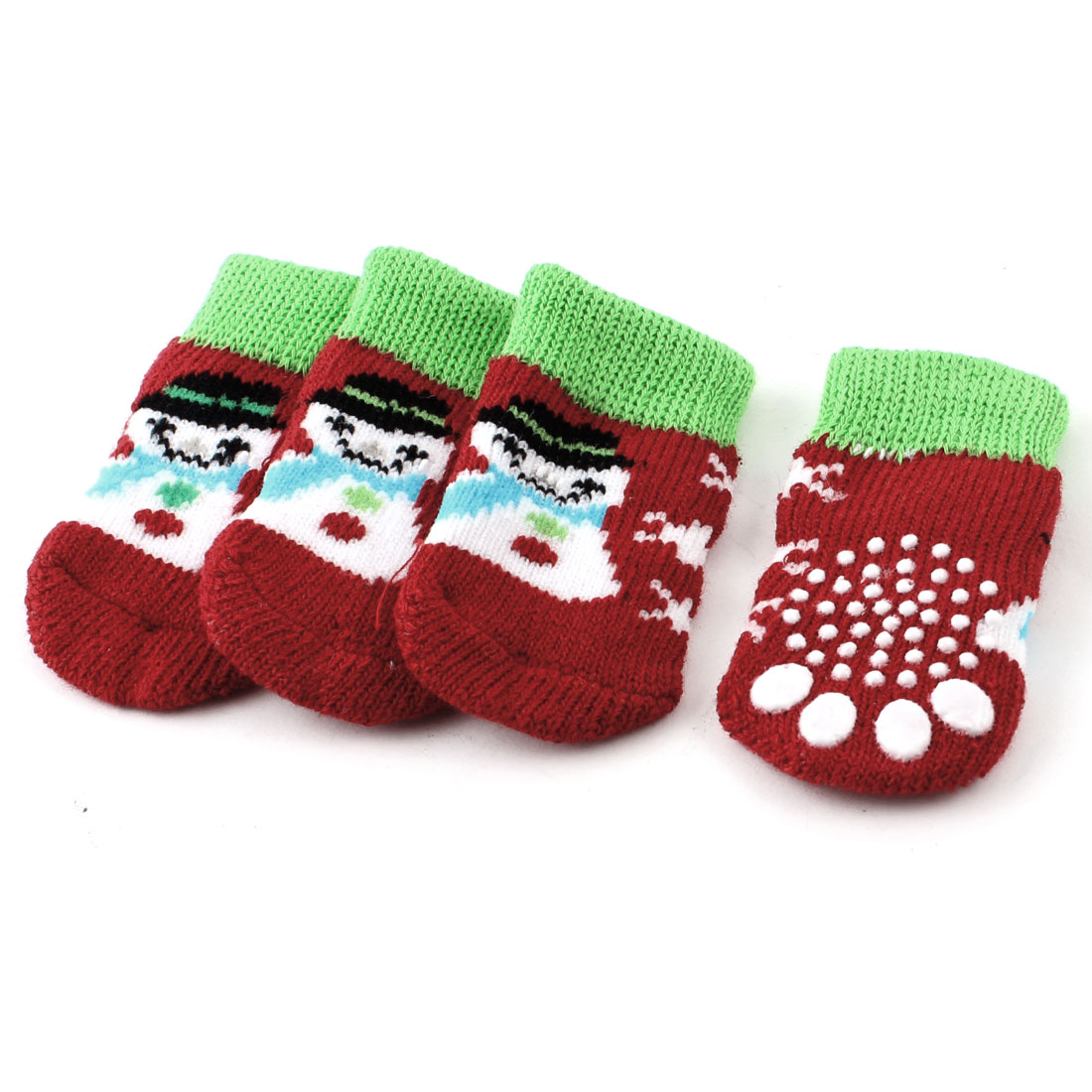 2 Pairs Red Green Knitted Snowman Paw Pattern Nonslip Elastic Pet Dog Socks S
