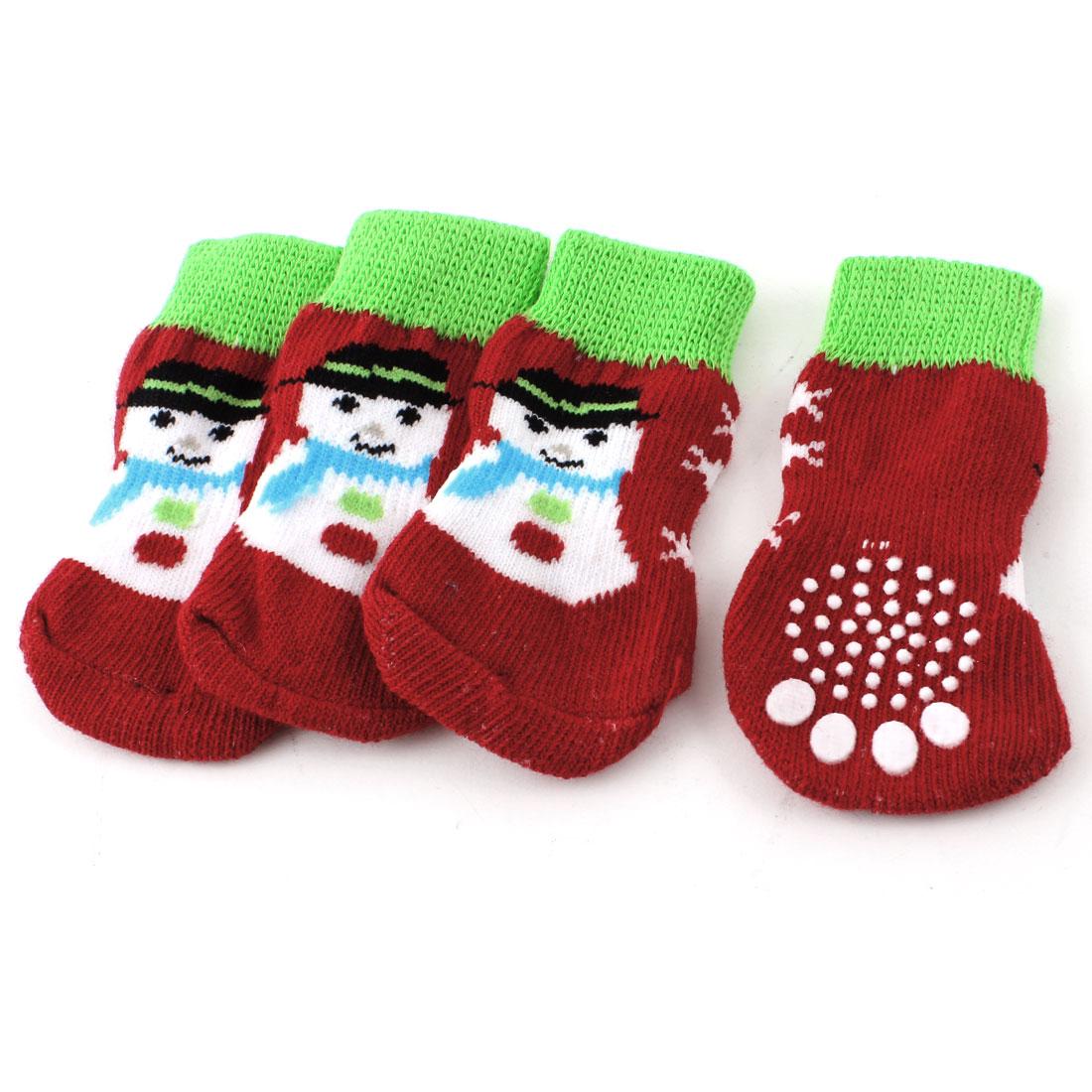 2 Pairs Red Green Knitting Paw Snowman Print Elastic Pet Dog Doggie Socks L