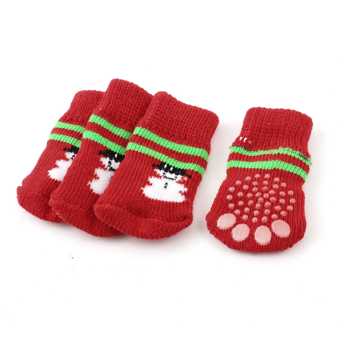 Red White Snowman Paw Pattern Knitting Elastic Pet Dog Cat Doggy Socks S 2 Pairs