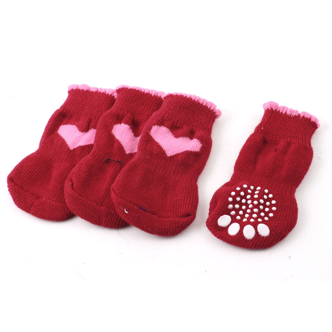 2 Pairs Red Pink Knitting Heart Paw Pattern Elastic Pet Puppy Dog Socks