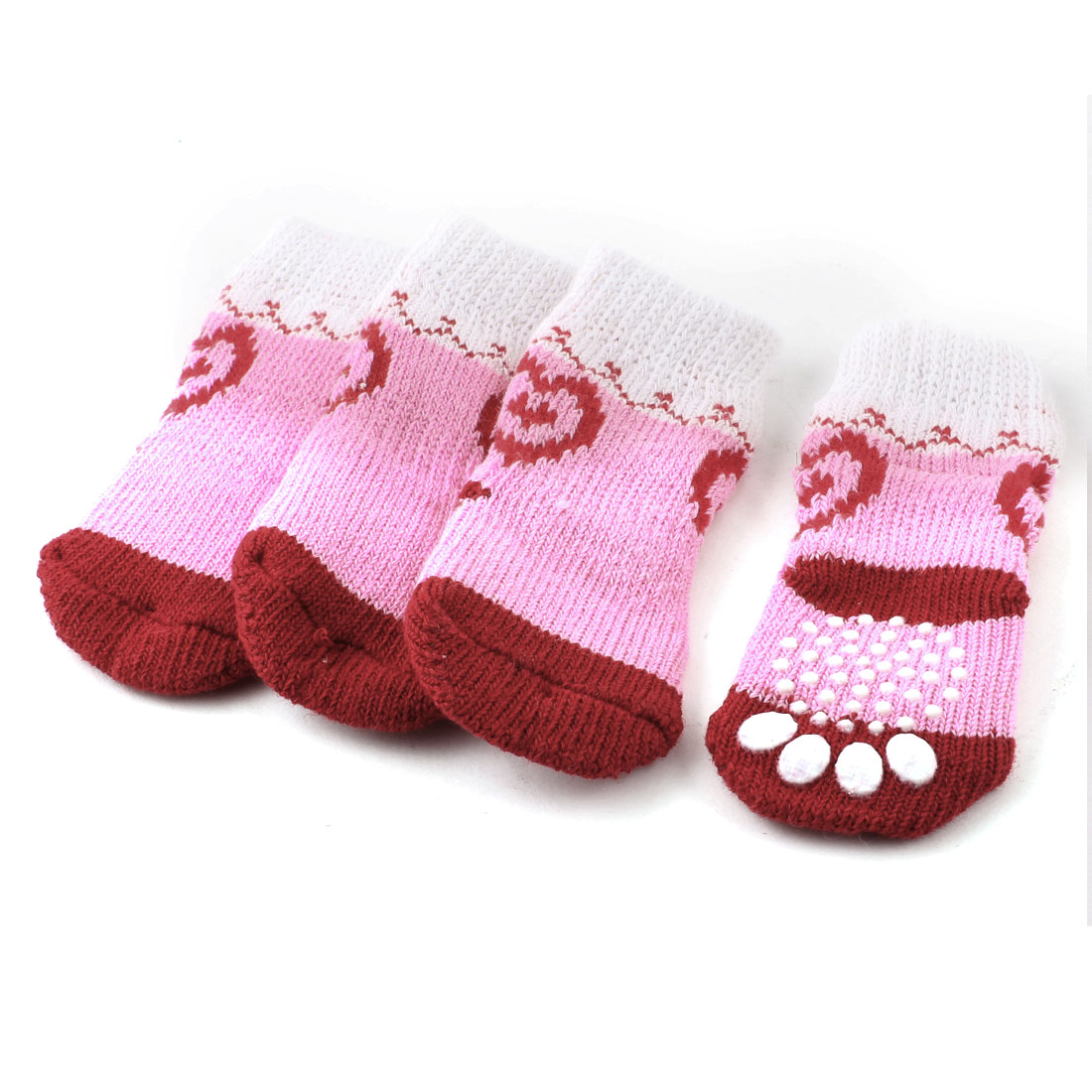 Pink White Knitting Heart Paw Pattern Elastic Pet Yorkie Dog Socks 2 Pairs