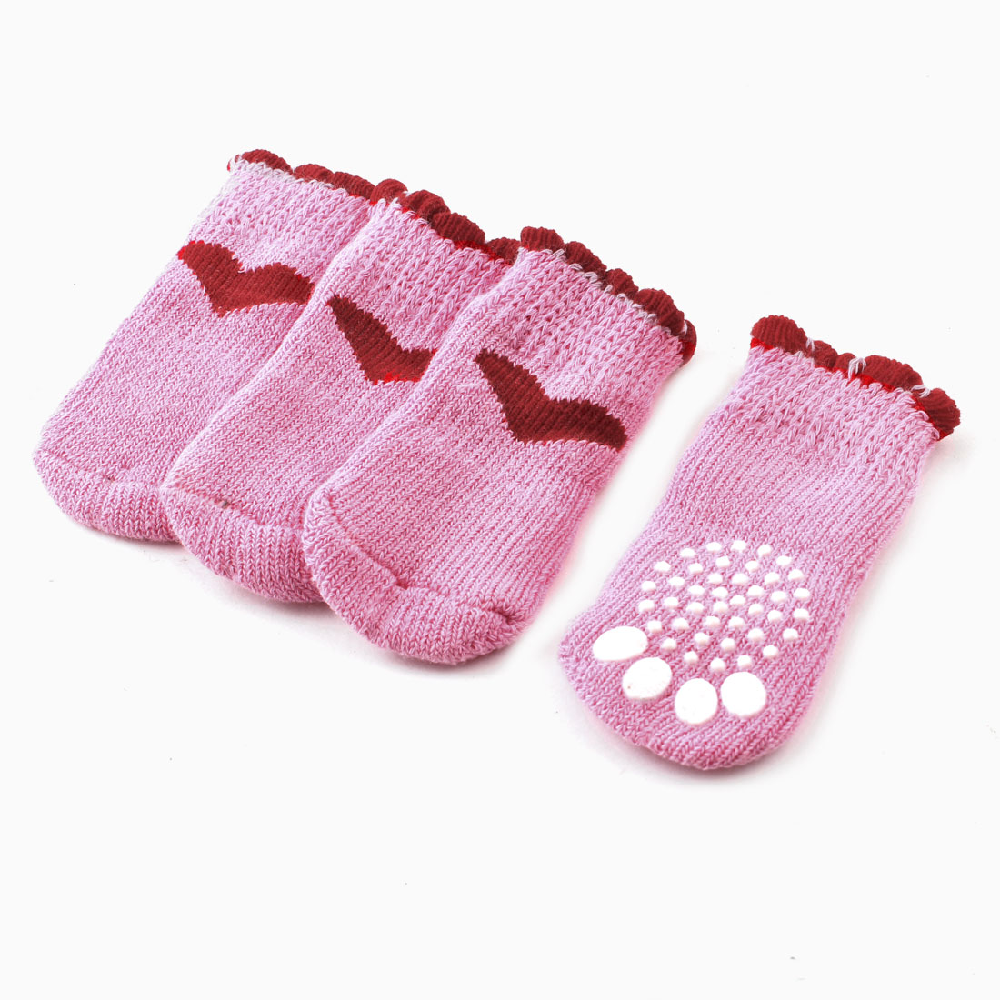 Pink Red Heart Paw Pattern Knitted Elastic Pet Dog Doggie Socks 2 Pairs