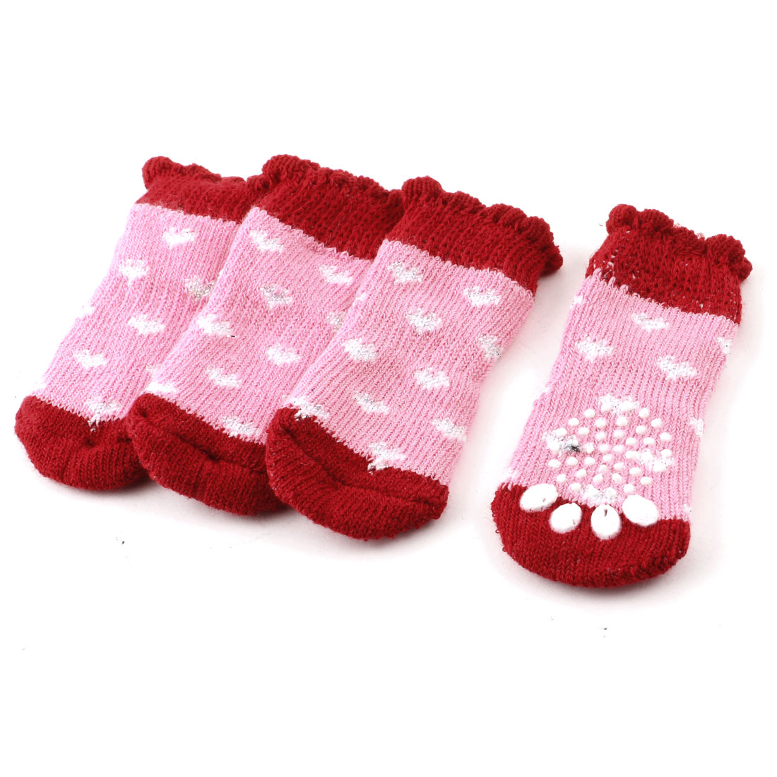 Pink Red Heart Paw Pattern Flower Rim Elastic Pet Dog Puppy Socks 2 Pairs