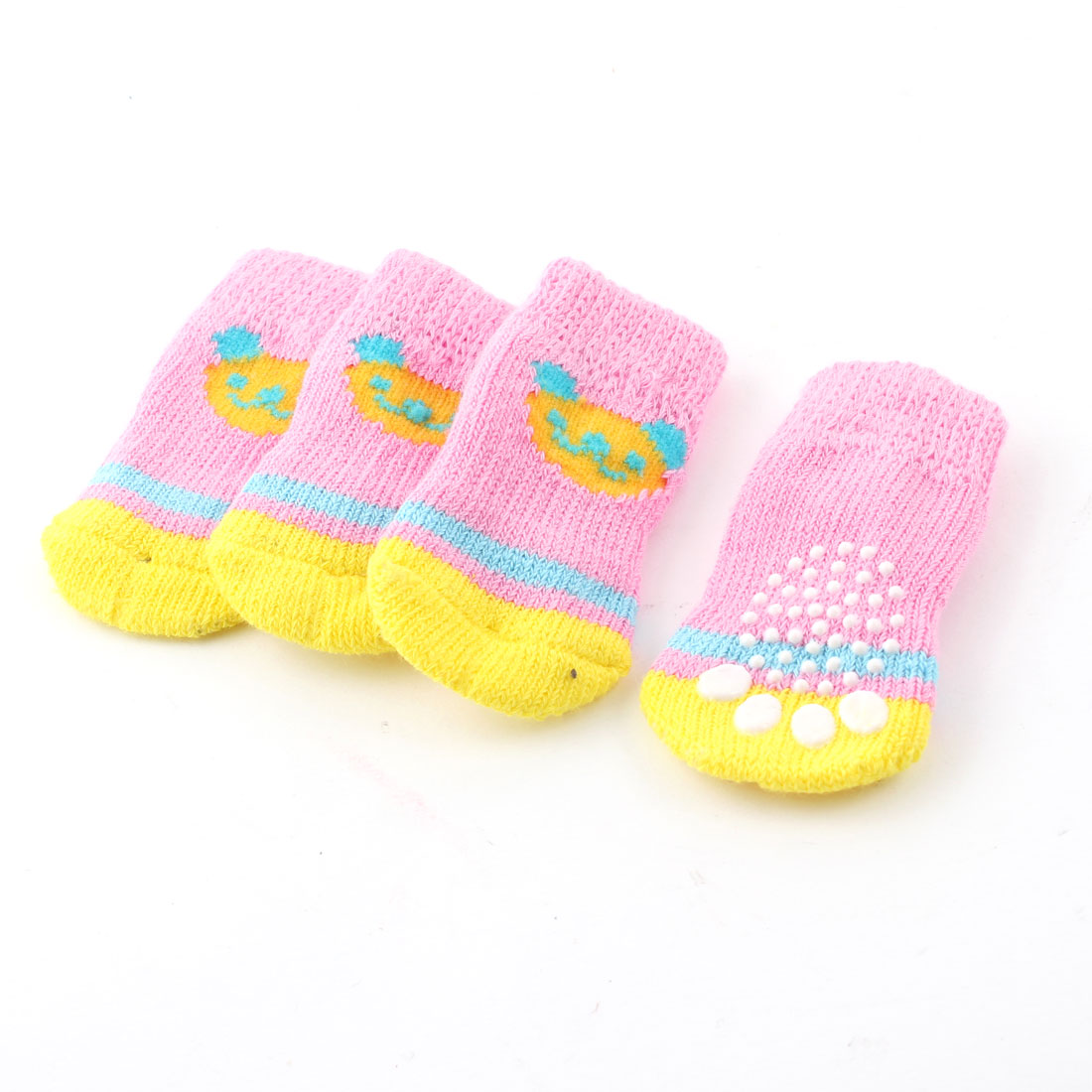 2 Pairs Yellow Pink Knitting Bear Head Print Elastic Pet Dog Cat Puppy Socks S