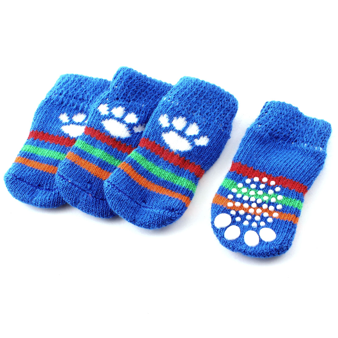 2 Pairs Blue White Knitting Nonskid Paw Pattern Elastic Pet Dog Doggie Socks