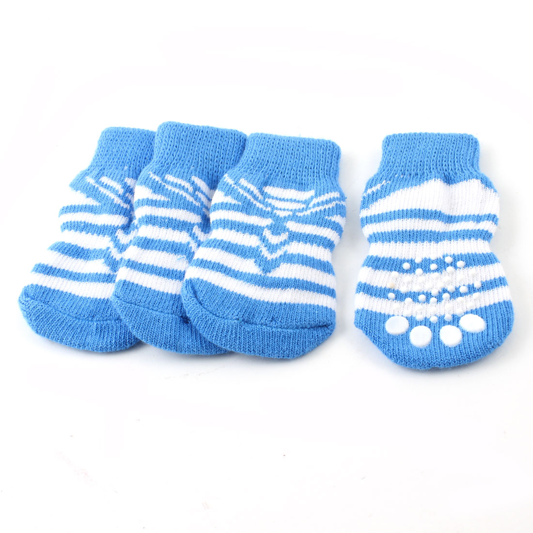 2 Pairs White Blue Hand Knit Stripe Paw Print Nonslip Elastic Pet Dog Socks L