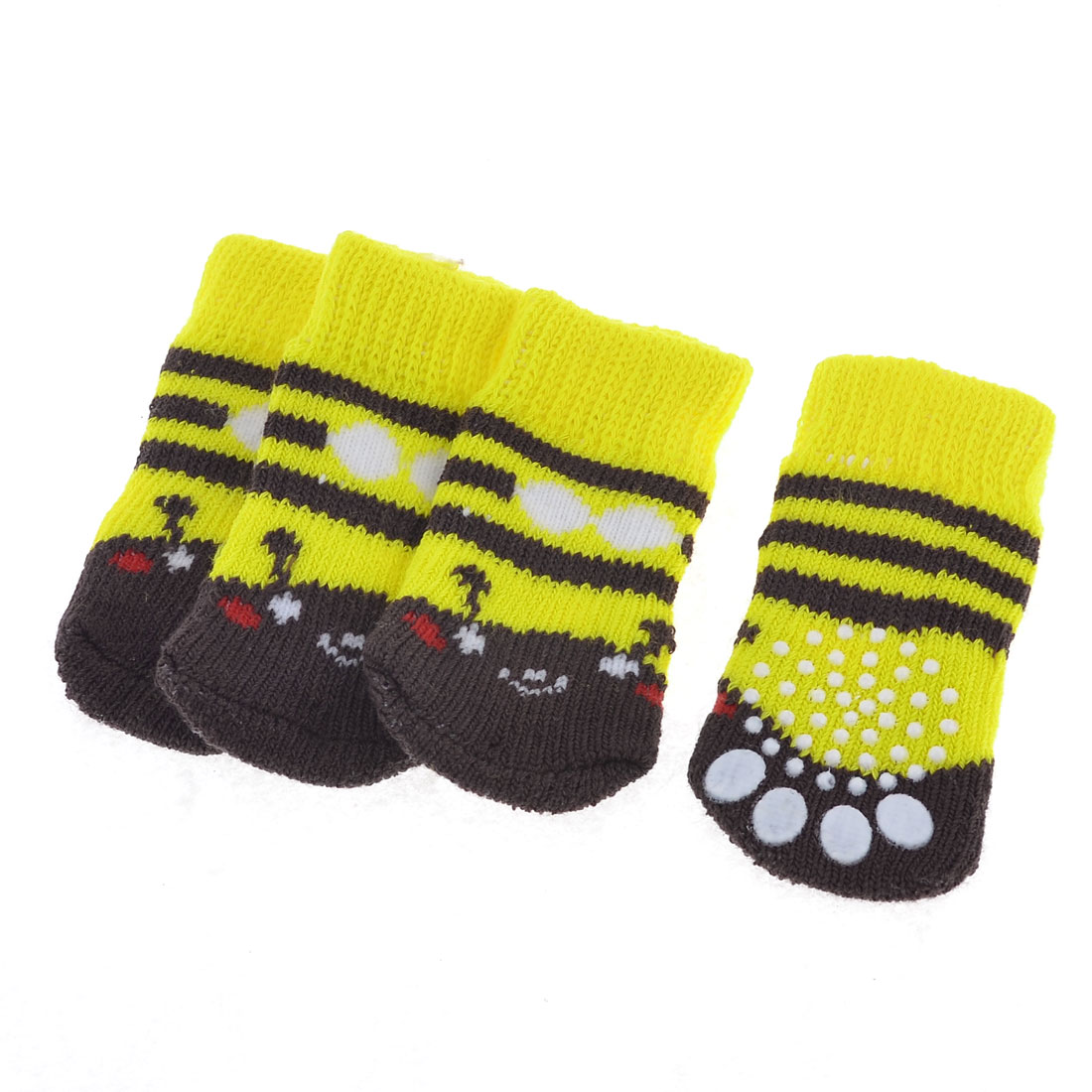 Pet Dog Doggy Cat Yellow Knitted Stripe Paw Pattern Elastic Socks M 2 Pairs