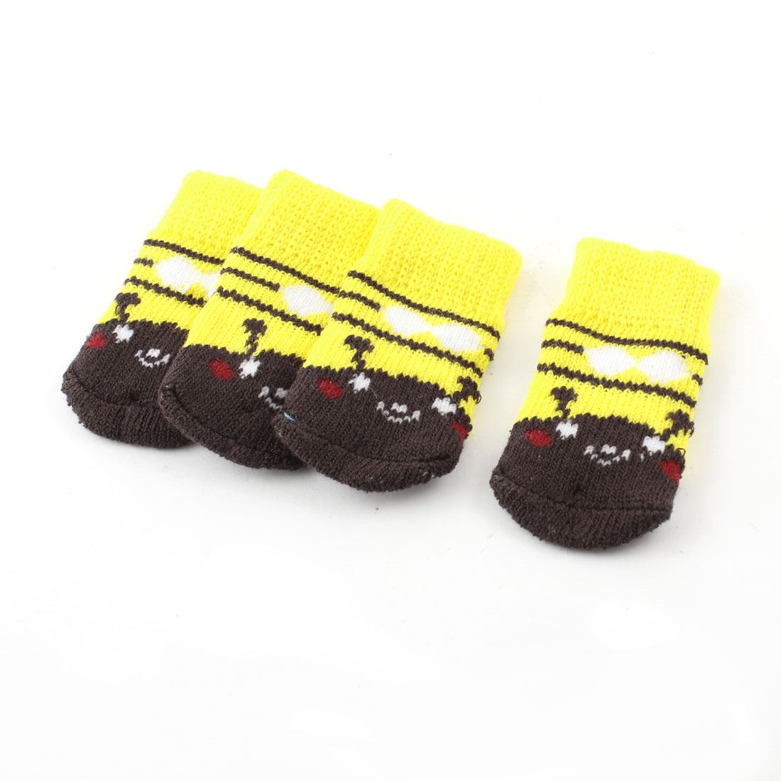 2 Pairs Yellow Knitting Stripe Paw Printed Elastic Pet Dog Doggy Socks S