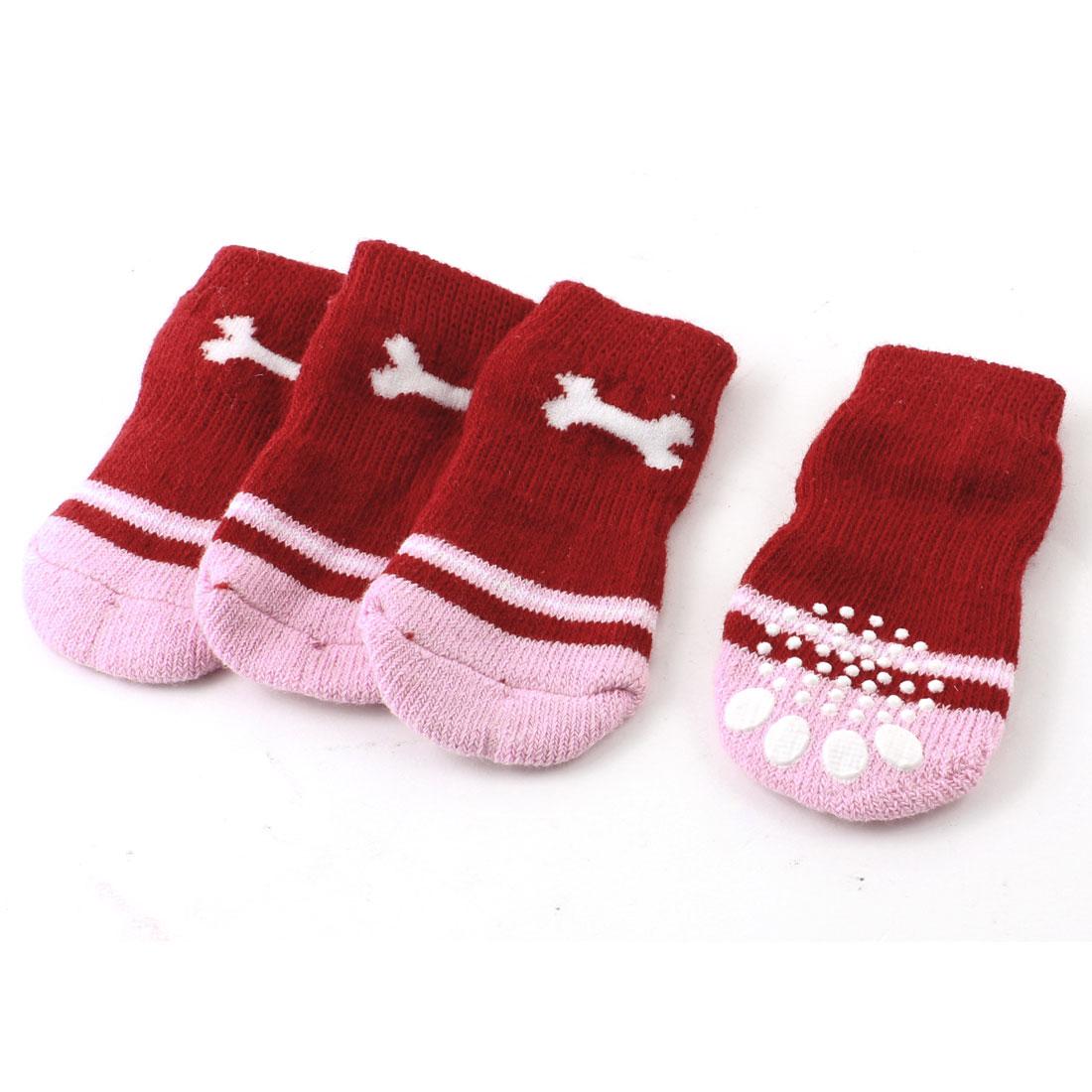 2 Pairs Red Pink Nonslip Paw Printed Knitting Elastic Pet Dog Yorkie Socks
