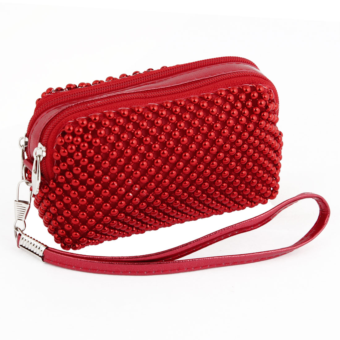 Red Beads Decor Zipper Closure 2 Compartments Coin Purse Bag for Lady