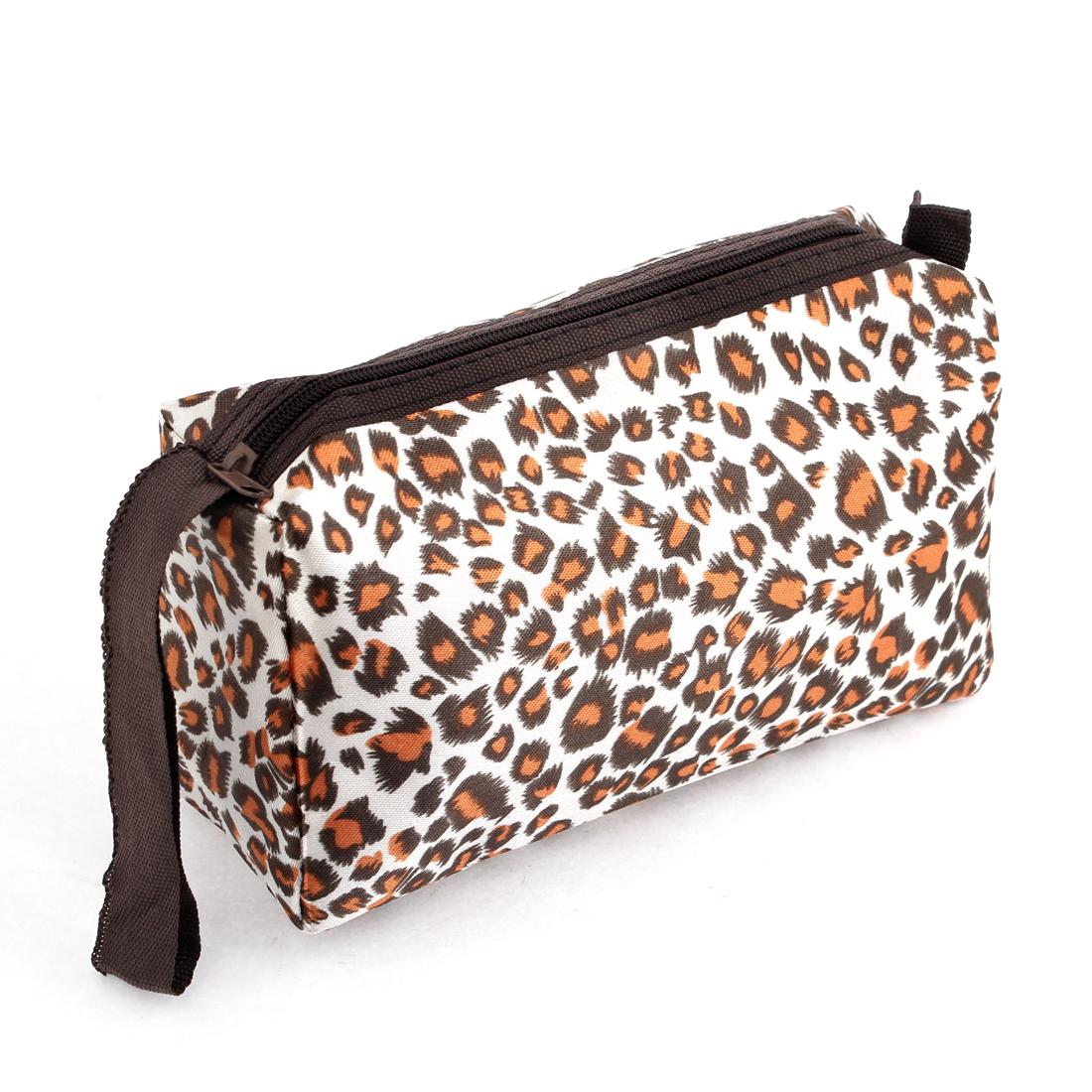 Ladies Beige Brown Black Leopard Print Zipper Cosmetic Handbag Bag