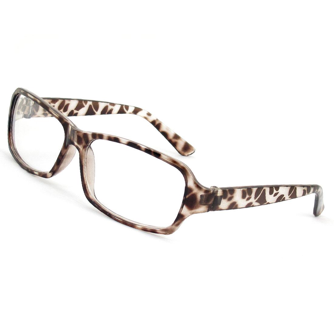 Dark Brown Plastic Full Frame Leopard Prints Plain Glasses Spectacles for Lady