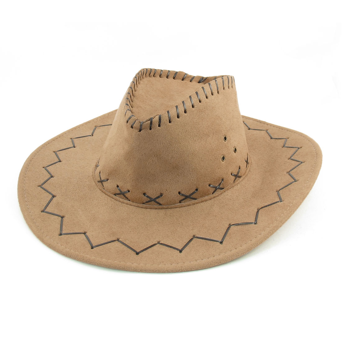 Men Khaki Faux Suede Adjustable Chin Strap Leisure Cowboy Hat Cap