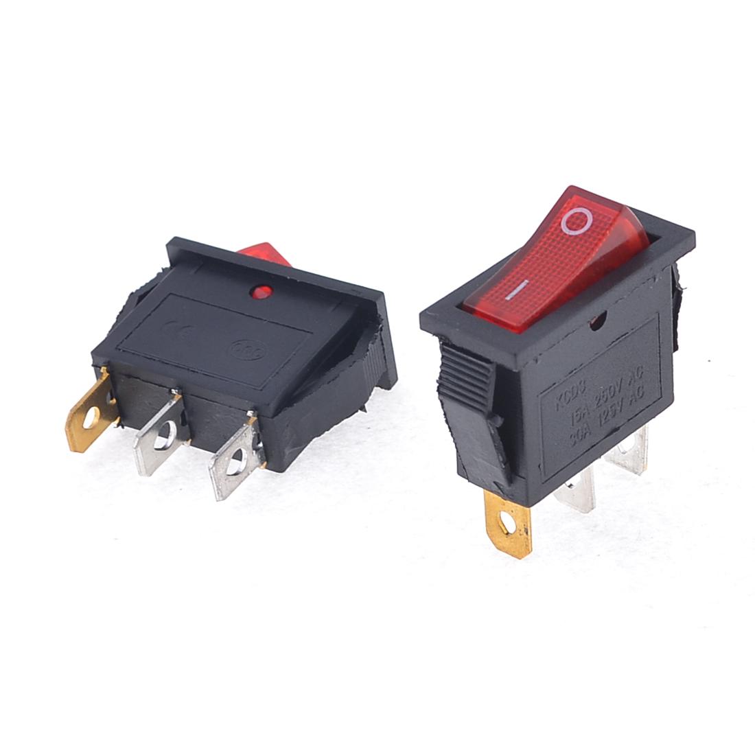 2 Pcs AC 15A/250V 30A/125V Red Light ON/OFF 2 Position SPST Rocker Switch