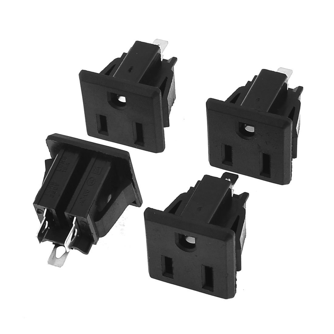4 x Black Plastic 3 Pins Terminals US Power Socket AC250V 15A