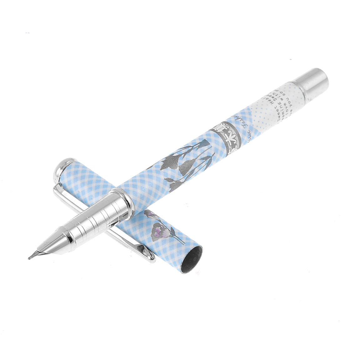 Blue Fuchsia 0.6mm Hooded Nib Floral Pattern Piston Converter Filler Fountain Pen