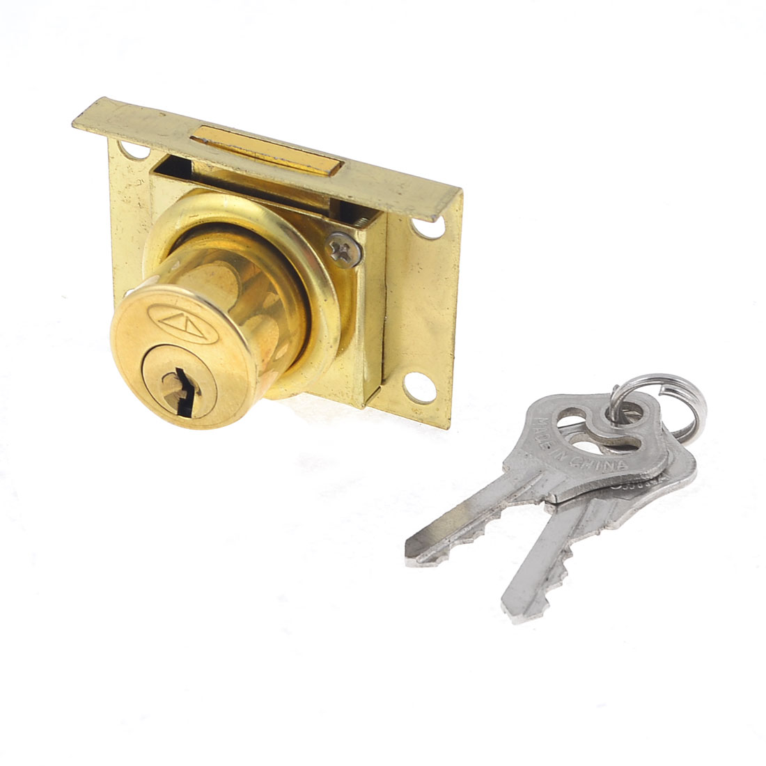 Office Cabinet Showcase Single Door Cylinder Security Lock Gold Tone
