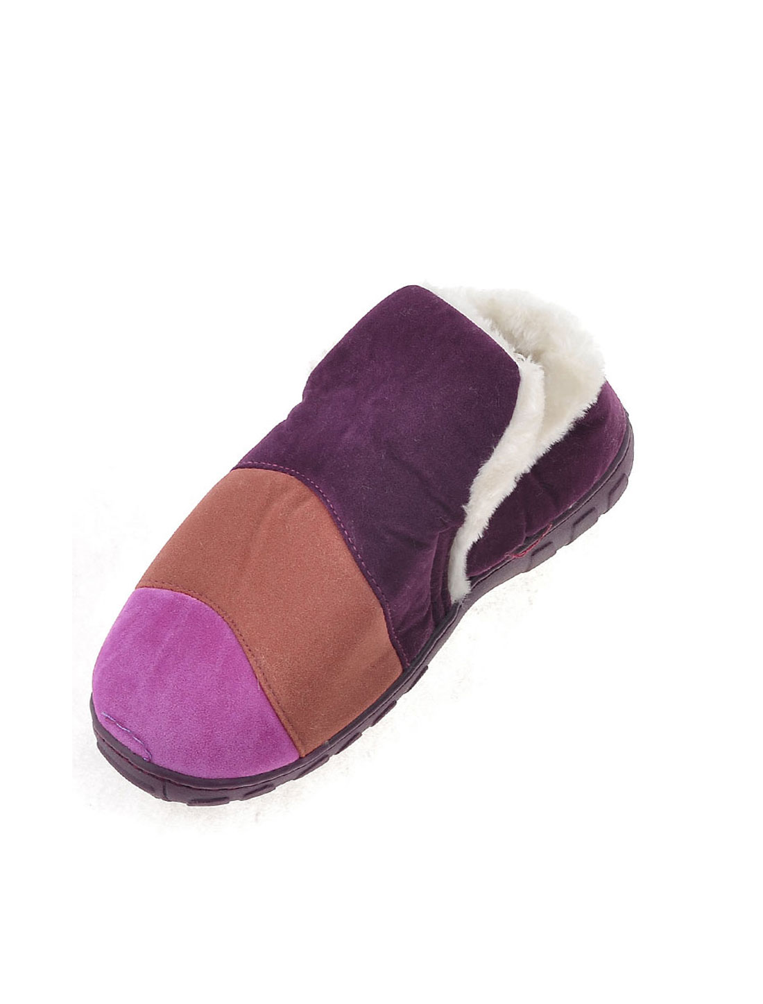 Ladies Household Colorful Stripes Prints Plush Winter Warm Slippers Pair
