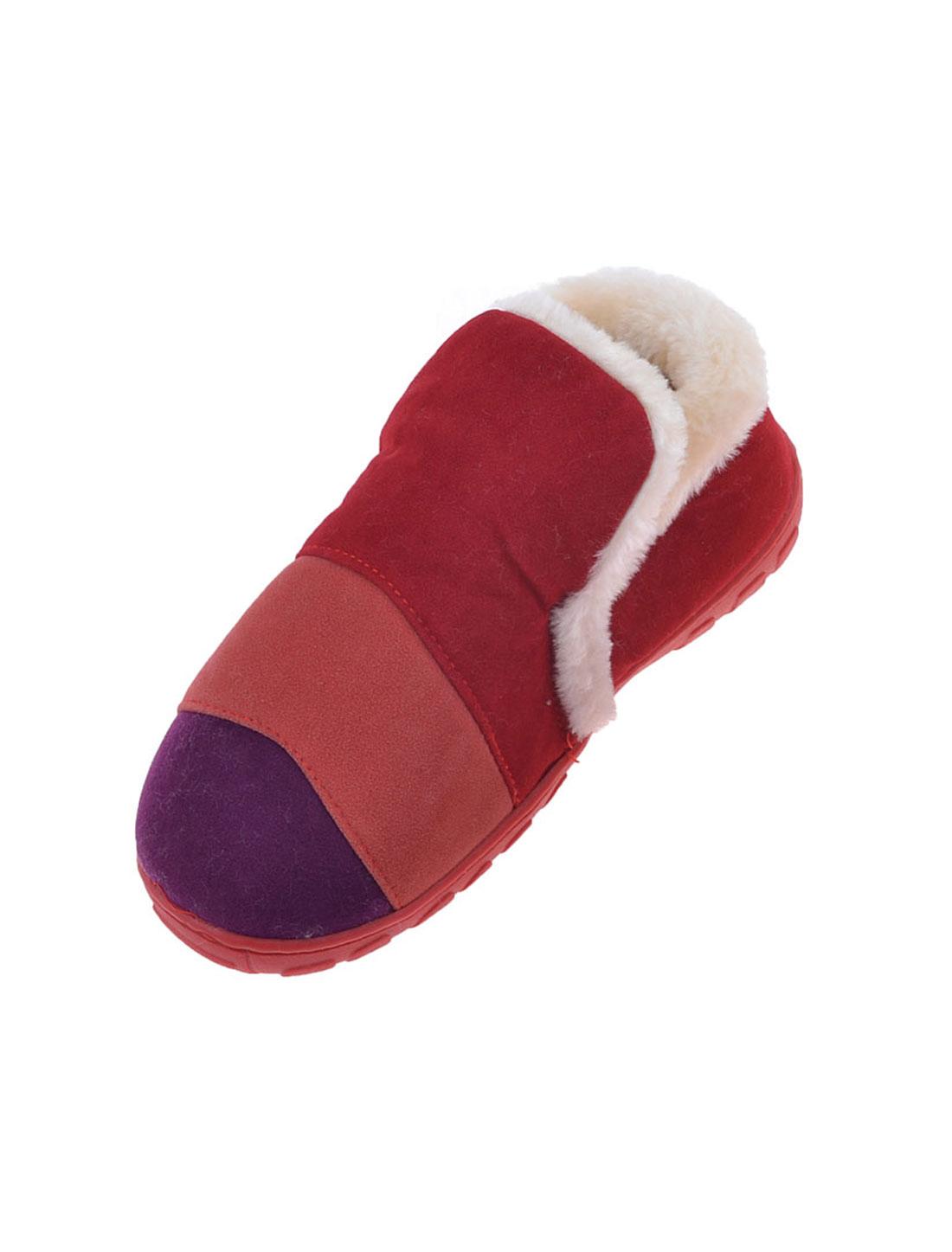 Woman Purple Orange Red Stripes Pattern Plush Soft Winter Warm Slippers Pair