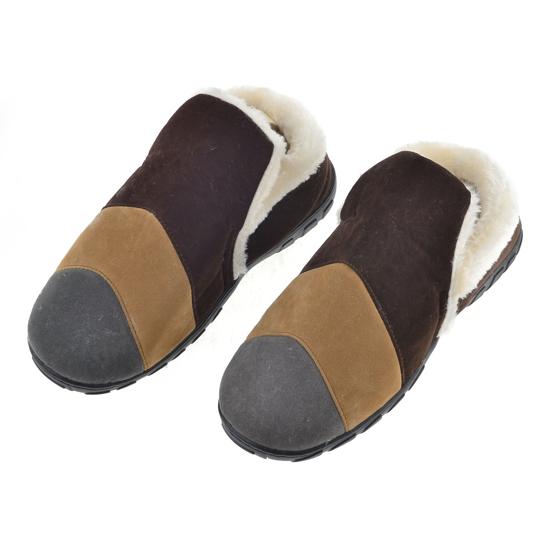 Men Colorful Stripes Pattern Plush Lining Winter Warm Slippers Pair