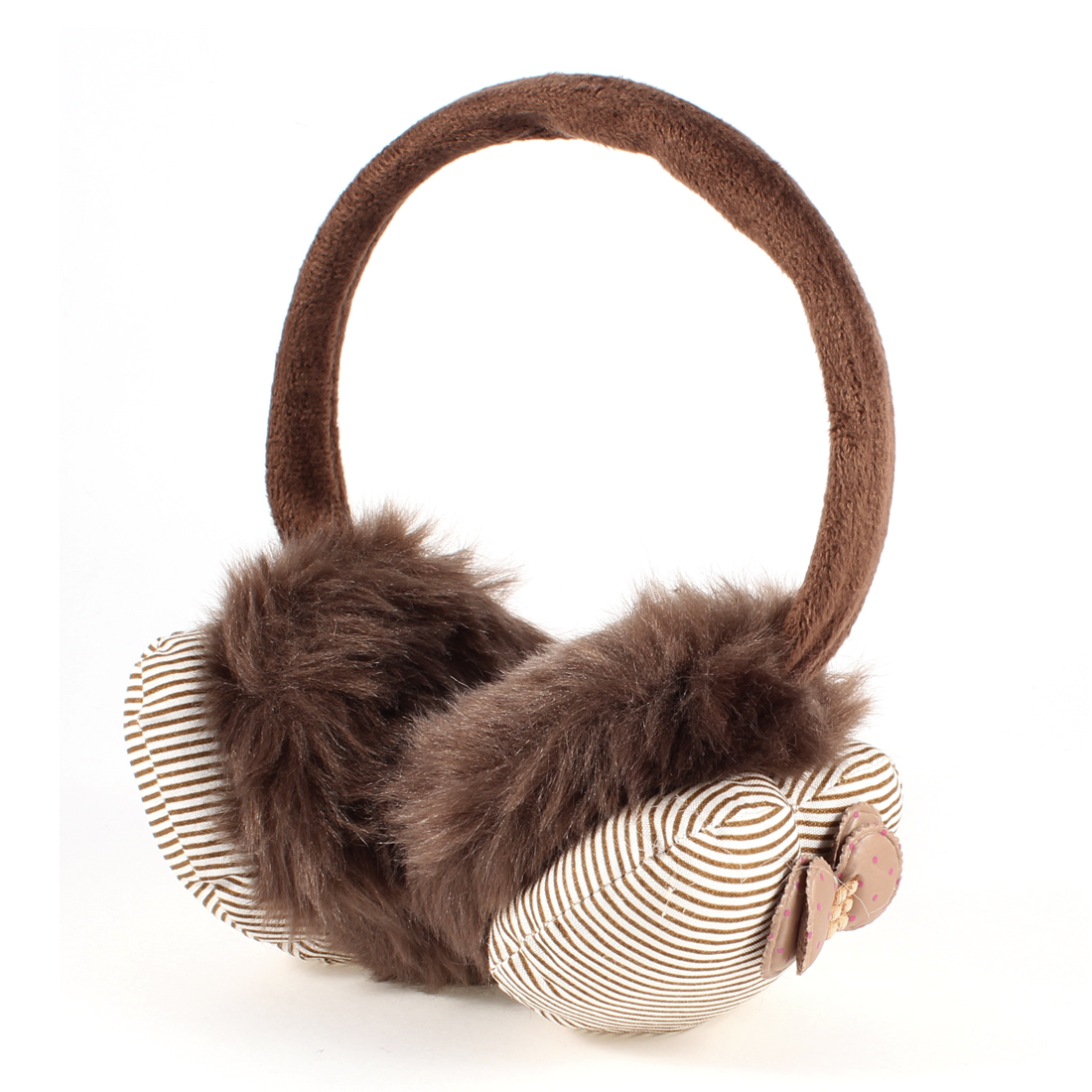 Chocolate Color Stripe Pattern Round Back Winter Ear Warmers Cover Earmuffs for Women