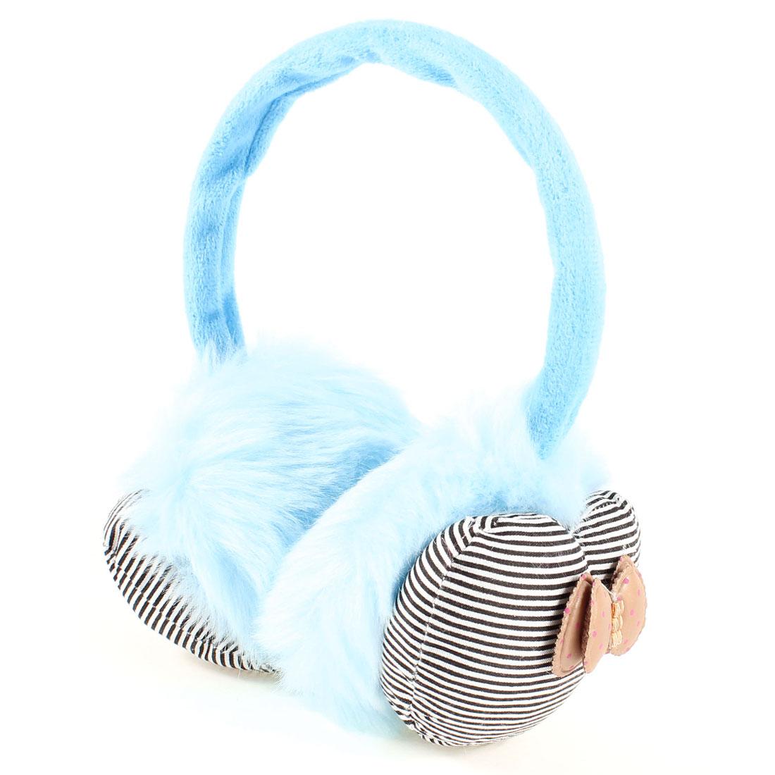Lady Blue Plush Stripe Print Heart Shaped Bowkont Decor Winter Ear Warmers Cover Earmuffs