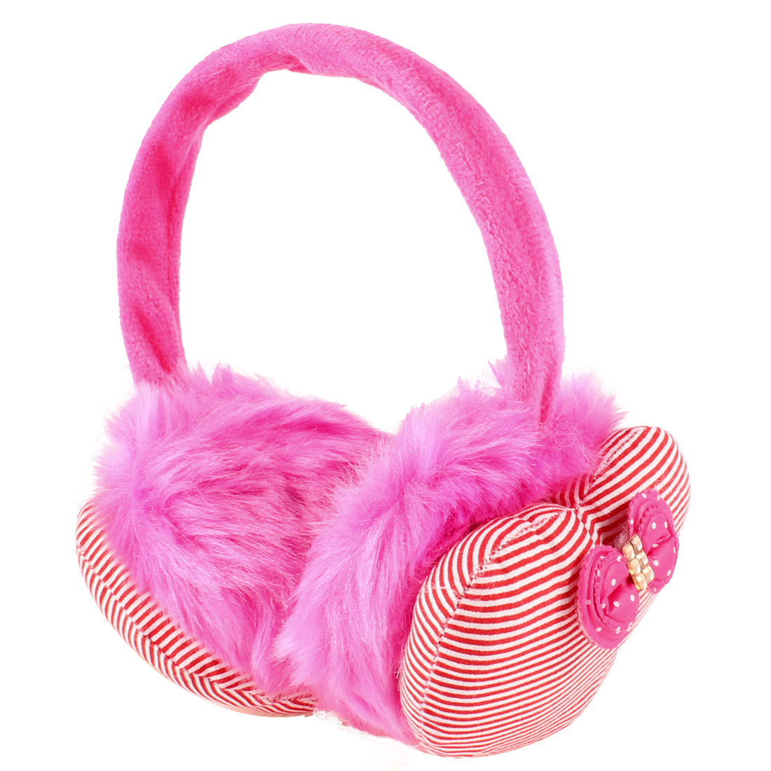 Lady Plush Red Stripe Print Heart Shaped Bowkont Decor Winter Earmuffs Pink
