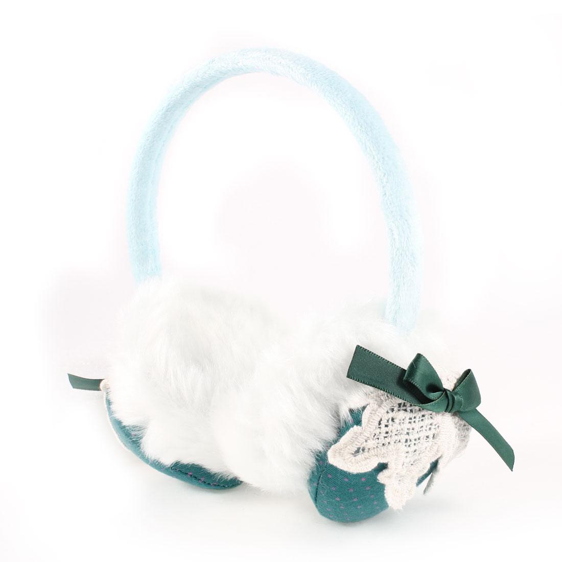 Ladies Fluffy Earpad Round Headband Winter Ear Cover Earmuff Baby Blue