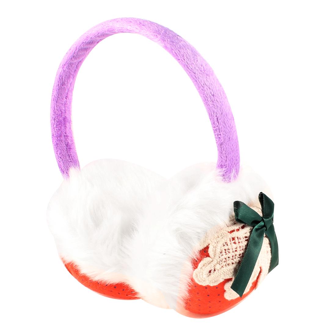 Plush Strawberry Print Teal Blue Bowtie Round Back Earmuff for Women Purple