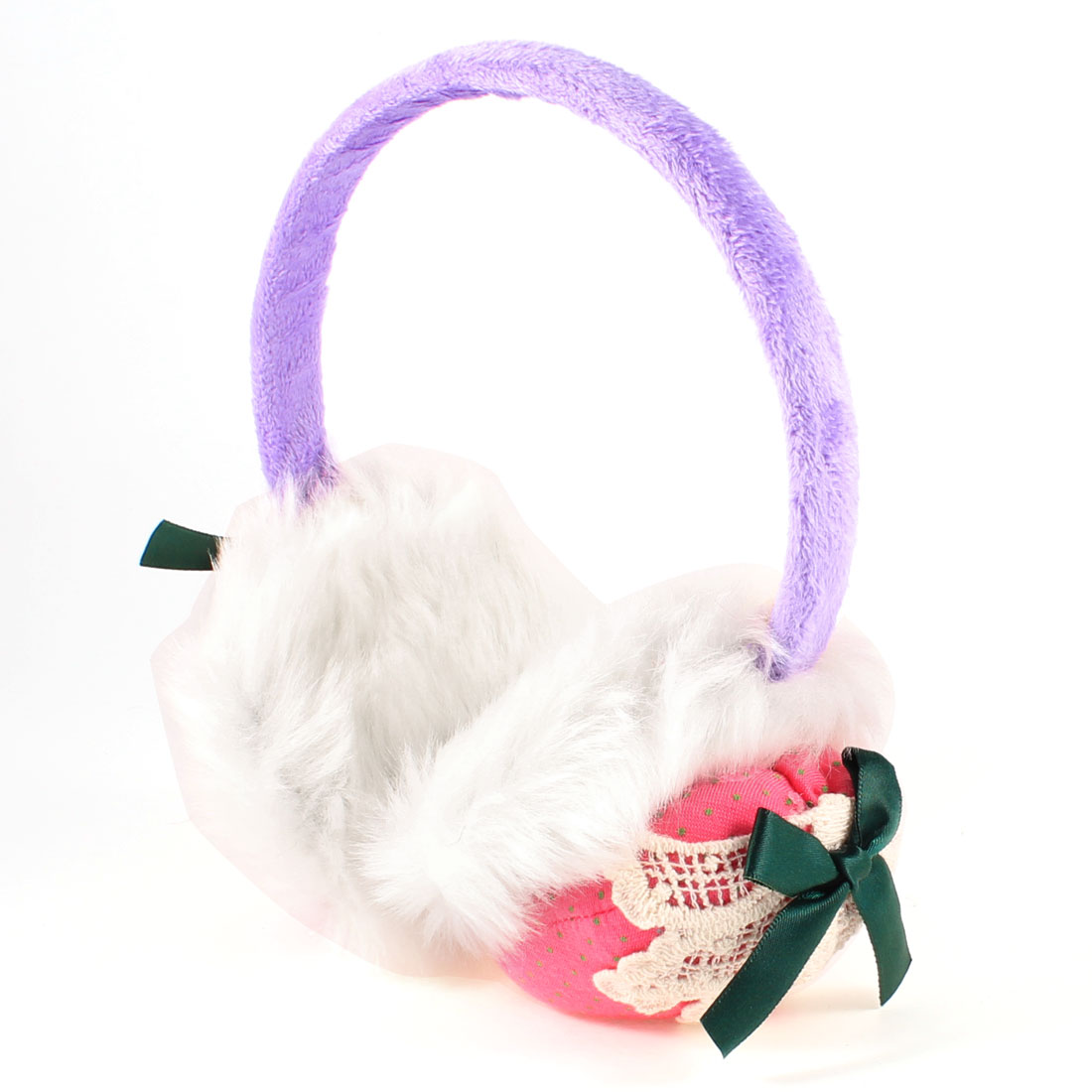 Lady Plush Strawberry Shaped Teal Blue Bowknot Winter Ear Cover Earmuff Purple