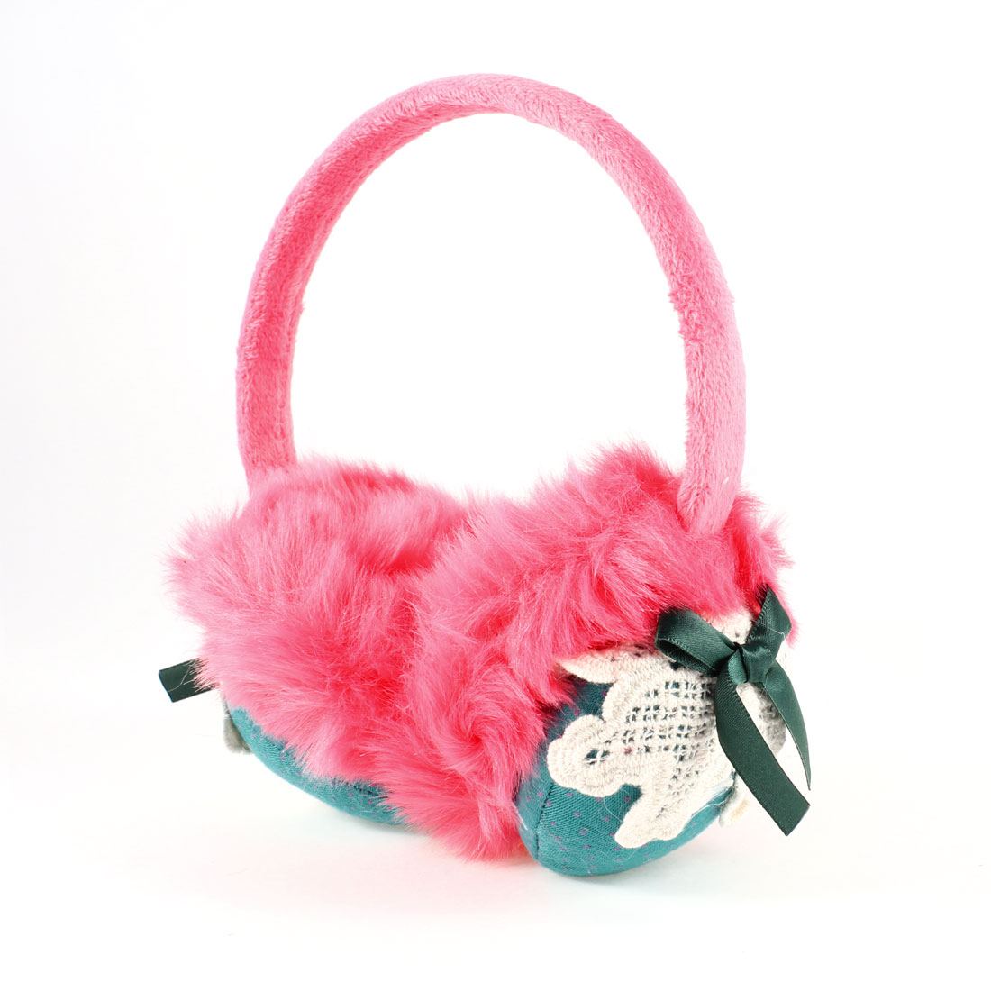 Ladies Fluffy Earpad Round Headband Winter Ear Cover Earmuff Hot Pink