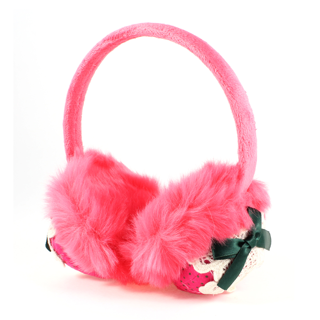 Hot Pink Plush Fuchsia Strawberry Print Teal Blue Bowtie Round Back Earmuff for Women