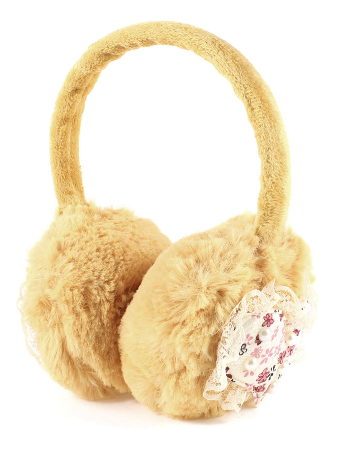 Lady Plush Floral Print Heart Lace Edge Faux Pearl Decor Winter Earmuffs Beige