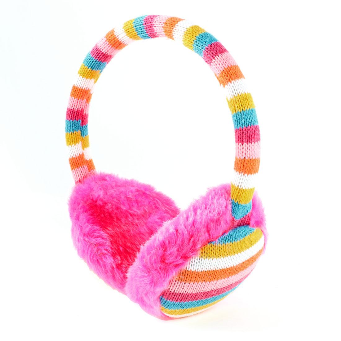 Lady Plush Colorful Stripe Pattern Winter Ear Warmers Cover Earmuffs Pink