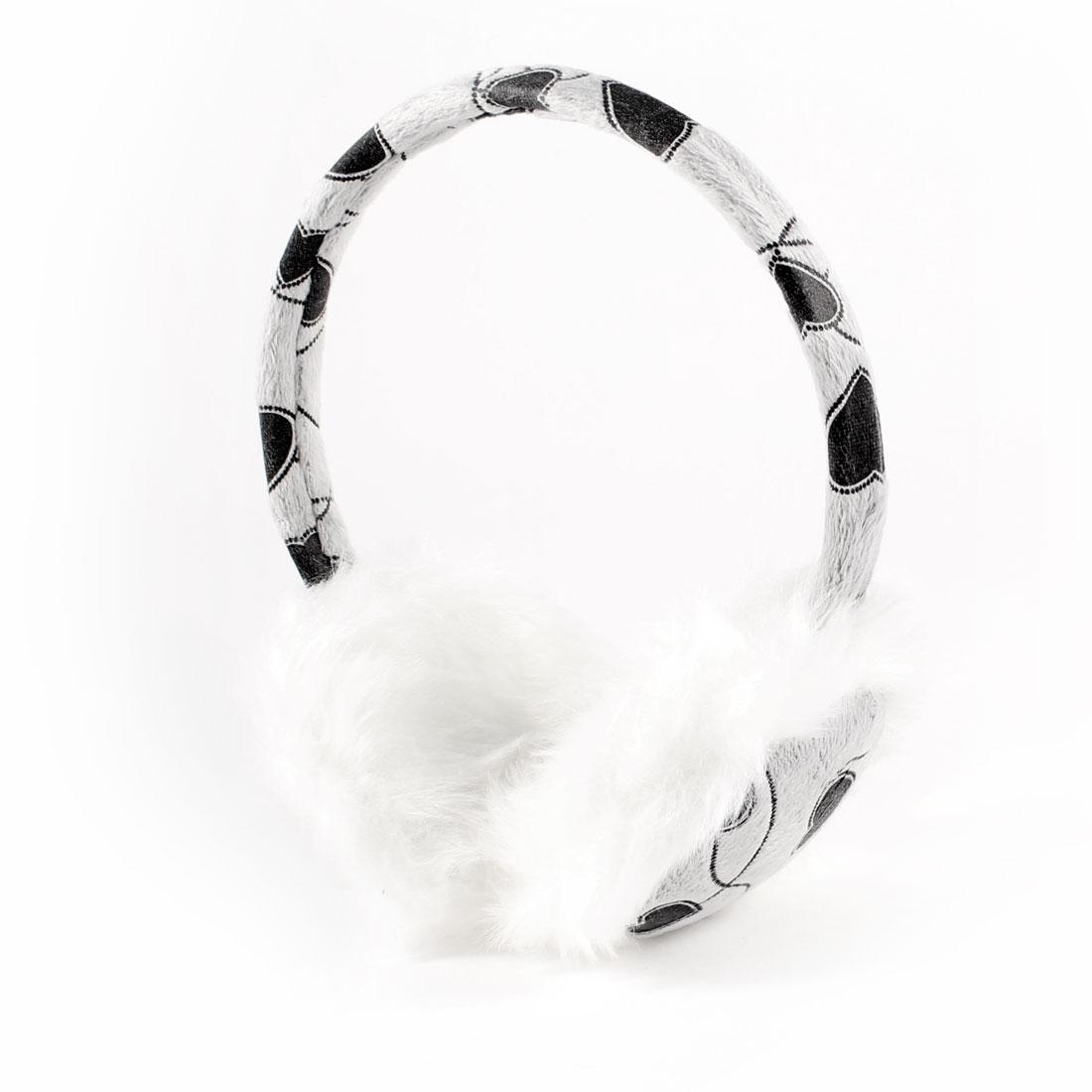 Ladies Hearts Pattern Plush Ear Warmers Muffs Cover Winter Earmuffs Gray